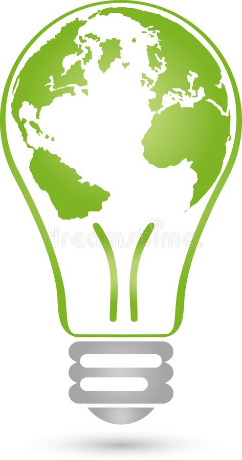 Free Lamp And Earth Ball, Electrician And Green Power Logo Stock Image - 103155201