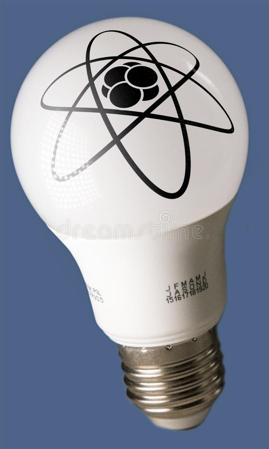 Lamp with atomic icon photo stock images