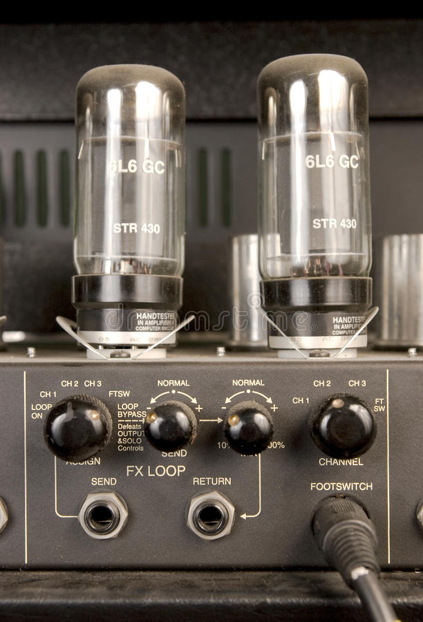 Lamp audio signal amplifier stock image