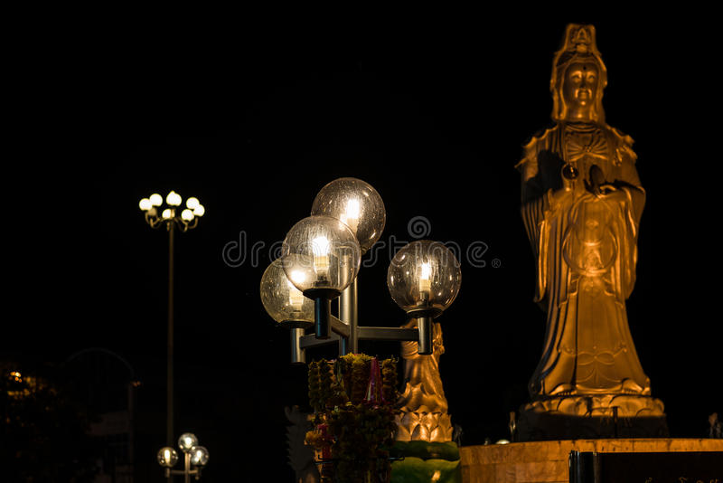 Lamp balls. Close Guanyin statue stock images