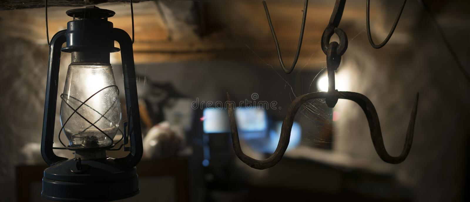Lamp in basement royalty free stock photo