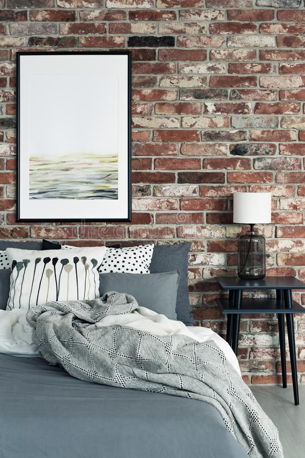 Red brick wall in bedroom stock image. Image of modern - 107723607