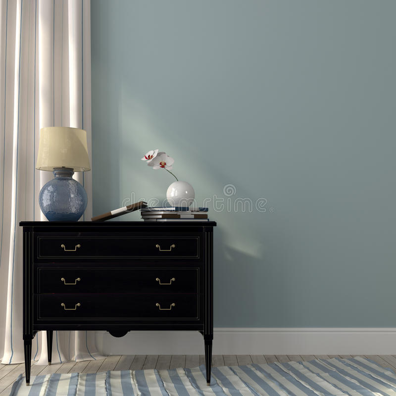 Lamp on the black dresser. The classic black dresser and the beautiful lamp on a background of blue wall and striped curtain stock images
