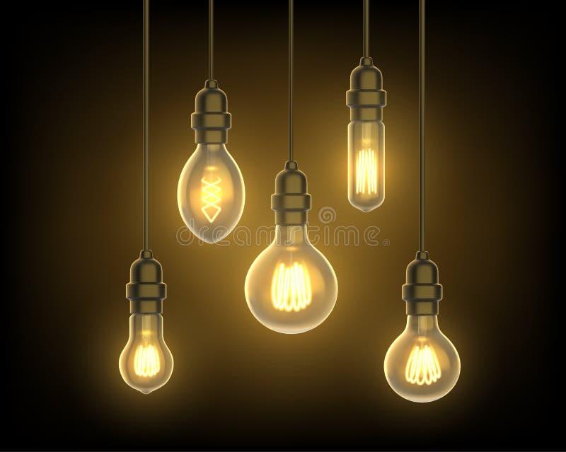 Lamp of bol, gloeilamp het hangen van plafond vector illustratie