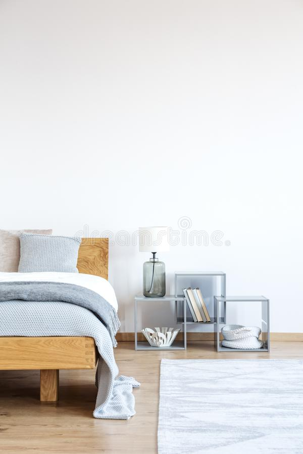 Empty wall in simple bedroom stock photography
