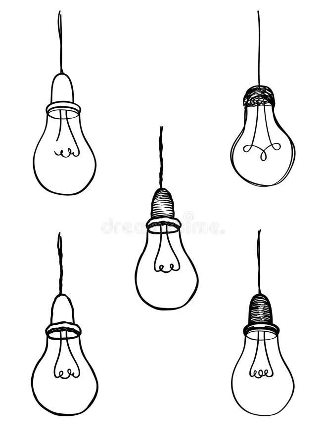Lamp bulb collection. Light icon set. Hand drawn sketch illustration royalty free illustration