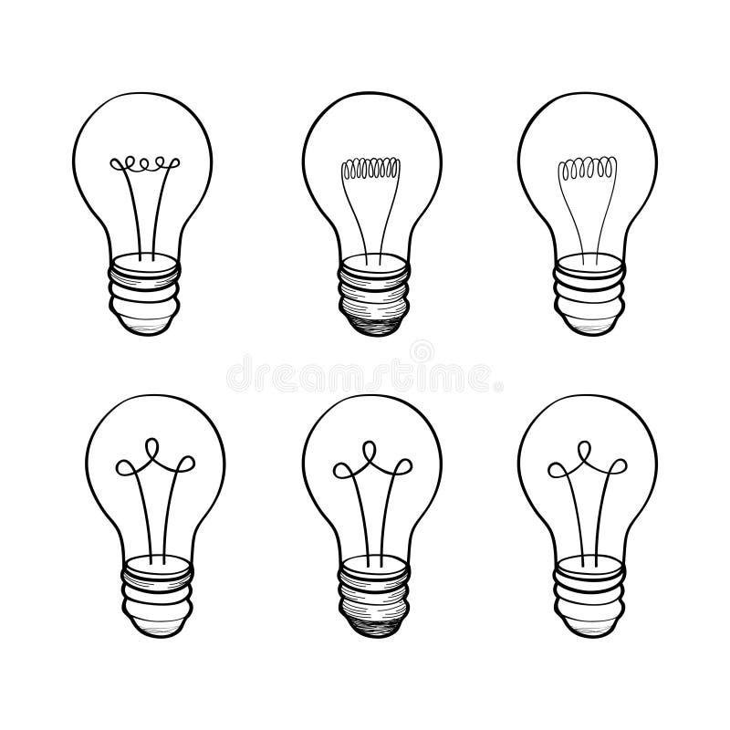 Lamp bulb collection. Light icon set. Hand drawn sketch illustration stock illustration