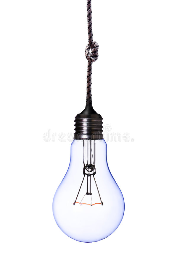 Lamp bulb with cord royalty free stock image