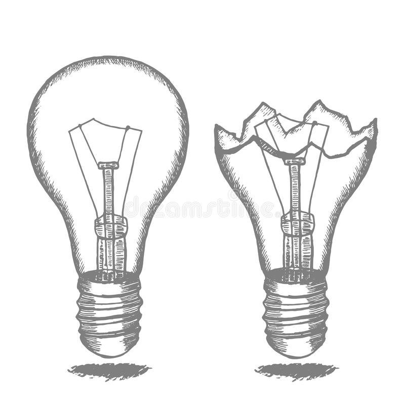 Set Of Hand Drawn Light Bulbs Symbol Of Ideas Stock: Lamp Bulb Hand Draw Sketch. Vector Stock Vector