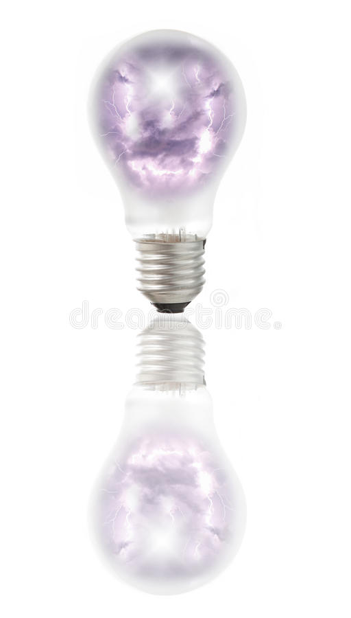 Download Lamp Bulb With Thunder, Lightnings And Storm Stock Images - Image: 23634564