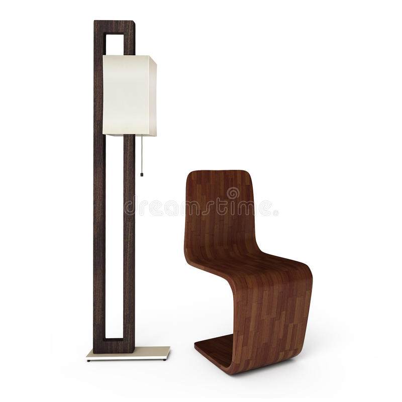 Lamp and chair. 3D illustration stock photos