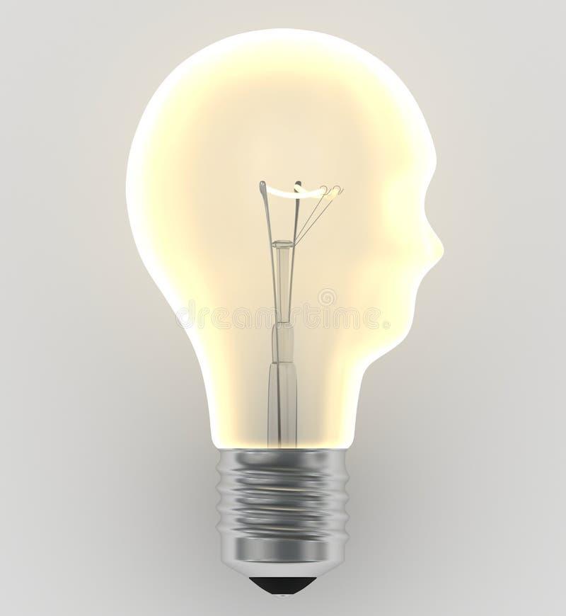 Lamp in de vorm van het hoofd dat het idee symboliseert royalty-vrije illustratie