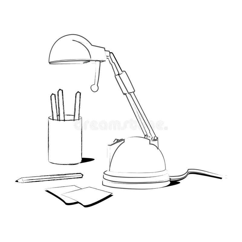 Lamp on a desk. Coloring illustration of a lamp some crayons and some paper notes on a desk, black and white version. Useful also for educational or coloring vector illustration