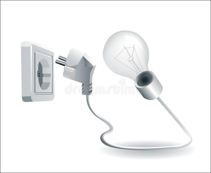 lamp and electric plug and socket royalty free illustration