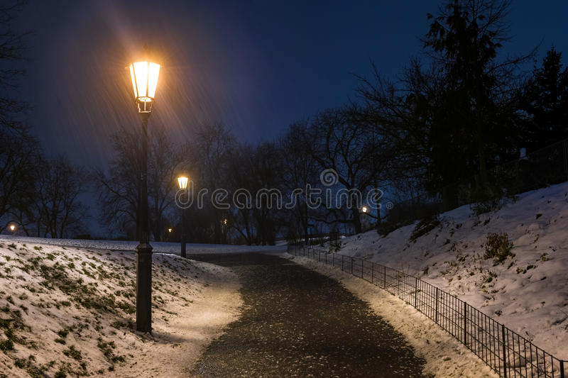 Lamp in the empty park during blizzard royalty free stock images