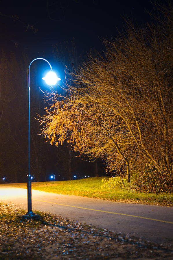 Lamp in the empty park at night. With leaves on the ground. Autumn night shot royalty free stock image