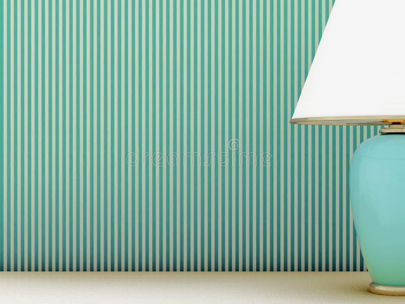 Lamp en gestreept behang royalty-vrije stock afbeelding