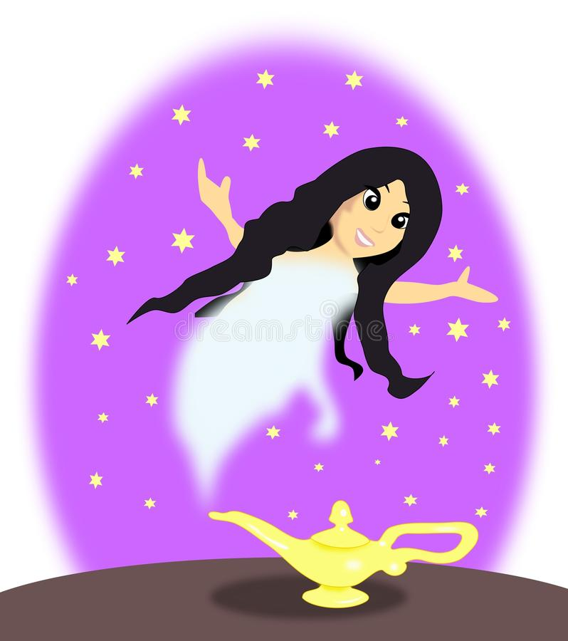Download Lamp with Female Genie stock illustration. Image of human - 25454942