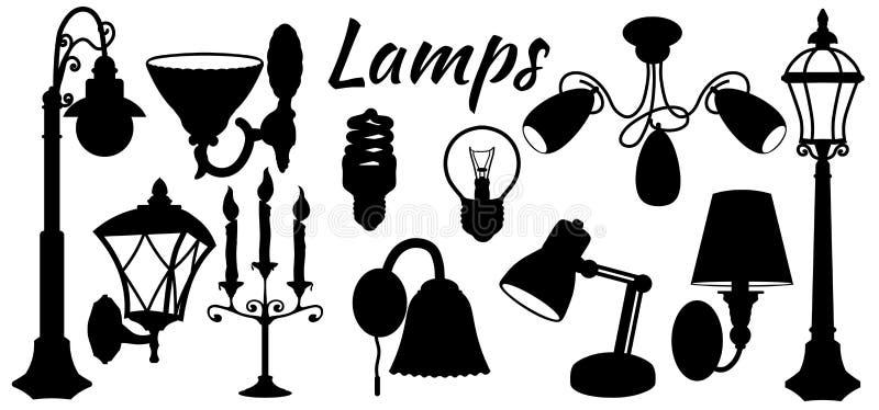 Lamp, floor lamp, wall lamp. Vector illustration. Set of paper lamp stickers. Laser cut. Set template for laser cutting and. Plotter. Vector illustration royalty free illustration