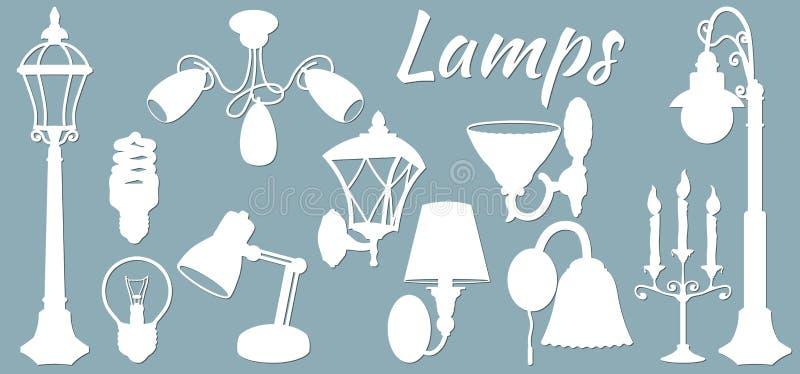 Lamp, floor lamp, wall lamp. Vector illustration. Set of paper lamp stickers. Laser cut. Set template for laser cutting and. Plotter. Vector illustration vector illustration