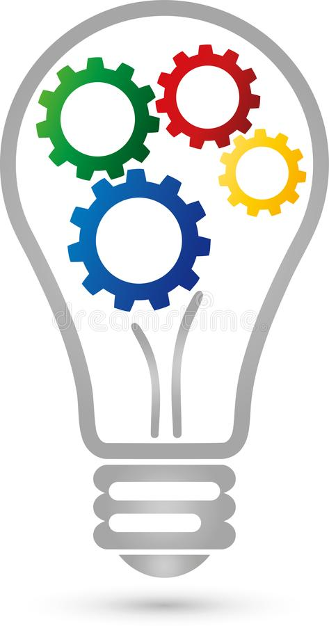 Lamp and four gears, colored, electrician and idea logo royalty free illustration