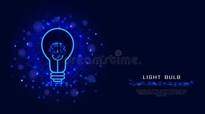 Lamp of gloeilamp van lijnen, punten en driehoeken op abstracte blauwe achtergrond Het concept van het Lightbulbontwerp voor crea vector illustratie