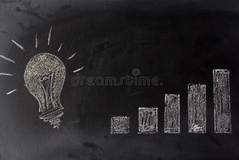 Lamp and growing graph on blackboard. Successful idea concept. Lamp and growing graph on chalkboard. Successful idea concept royalty free stock images