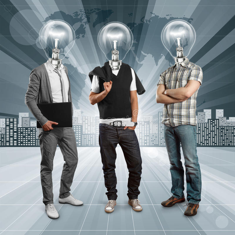 Lamp Head Human against Conceptual Background stock photos