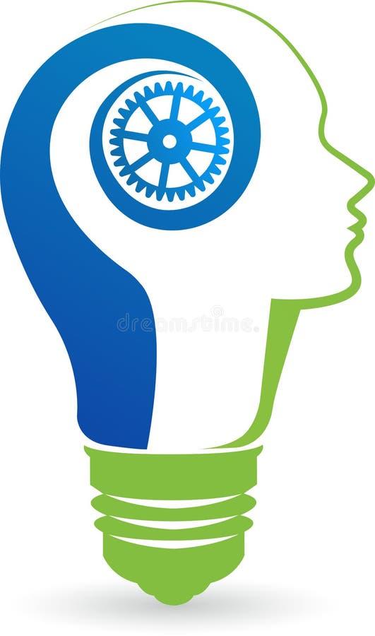 Lamp with head logo vector illustration