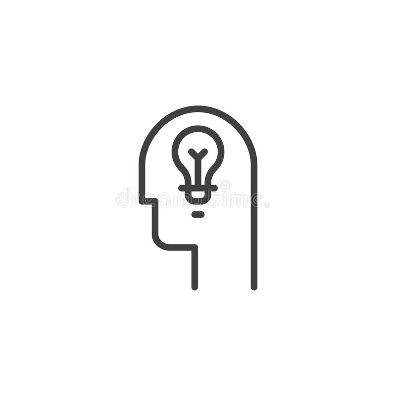 Lamp in head outline icon. Linear style sign for mobile concept and web design. Head with idea light bulb simple line vector icon. Symbol, logo illustration royalty free illustration