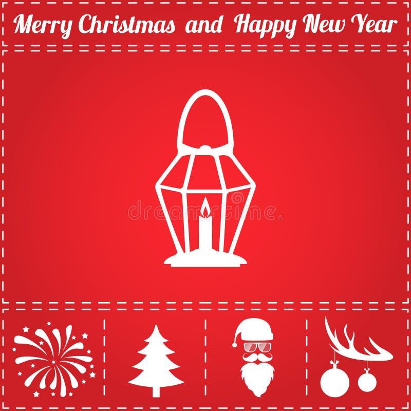 Lamp Icon Vector. And bonus symbol for New Year - Santa Claus, Christmas Tree, Firework, Balls on deer antlers vector illustration