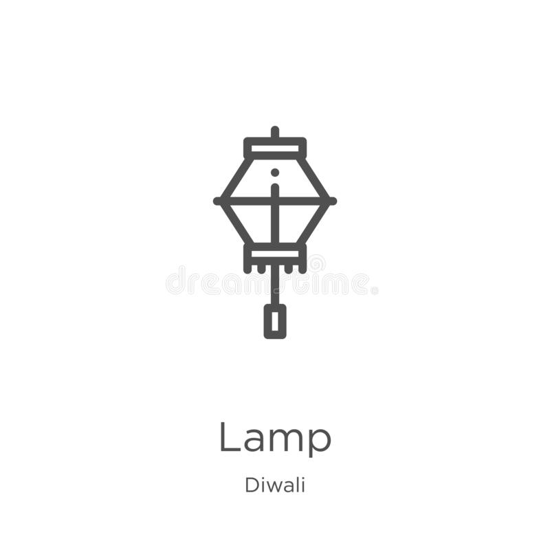 lamp icon vector from diwali collection. Thin line lamp outline icon vector illustration. Outline, thin line lamp icon for website vector illustration
