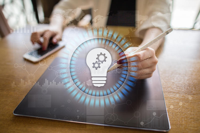 Lamp icon on virtual screen. Business solution. Innovation concept. royalty free stock photography