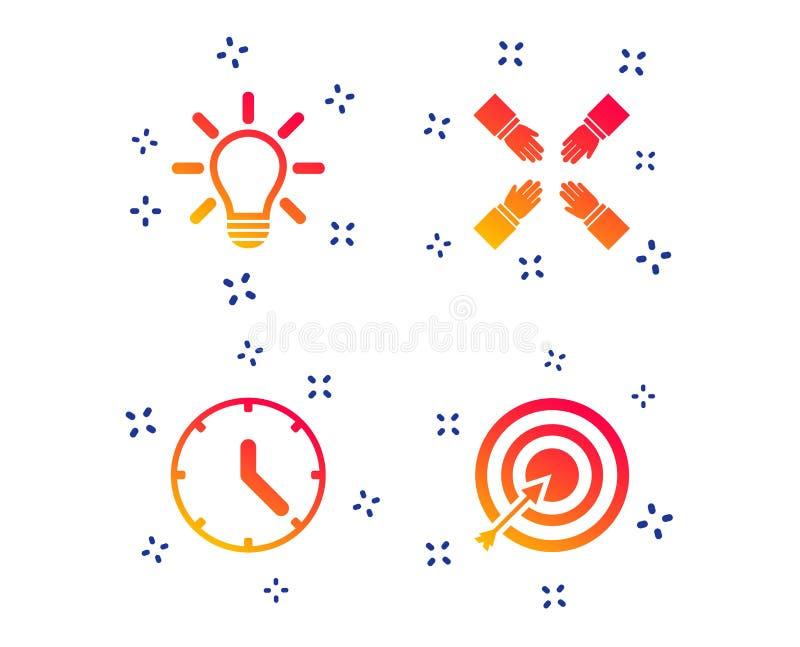 Lamp idea and clock time. Target aim. Vector. Lamp idea and clock time icons. Target aim sign. Darts board with arrow. Teamwork symbol. Random dynamic shapes vector illustration
