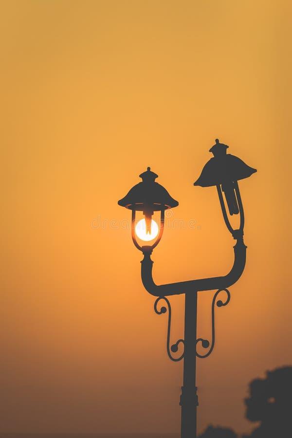 Lamp. Imagine shooting slowly circling the sunset vector illustration