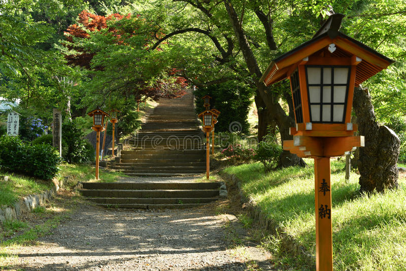 Lamp in Japanse stijl met gangmanier en esdoornboom stock foto's
