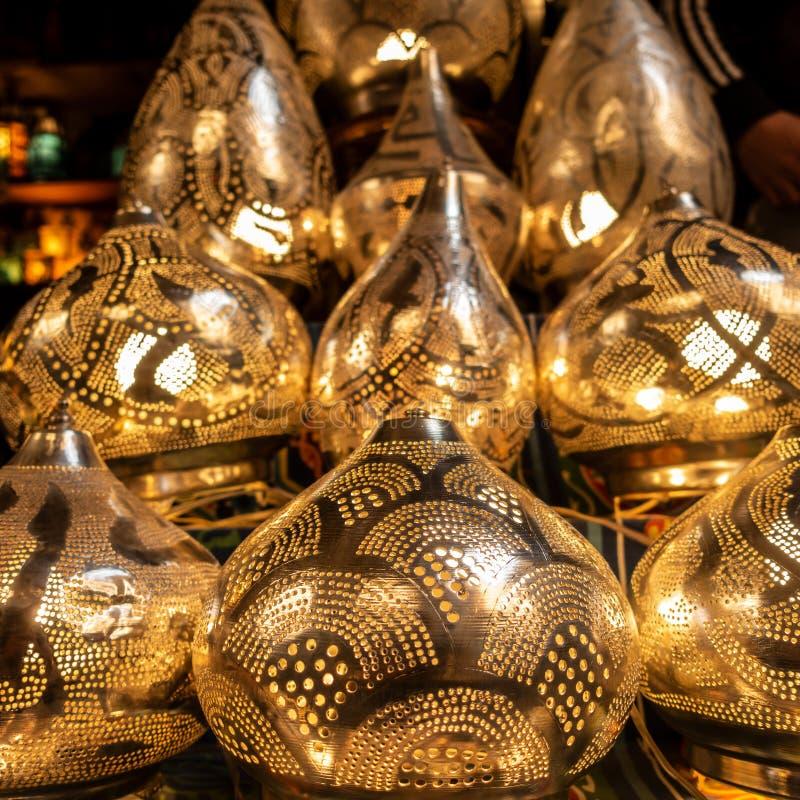 Lamp or Lantern Shop in the Khan El Khalili market in Islamic Cairo. Cairo, Egypt - Feb 02 2019: Lamp or Lantern Shop in the Khan El Khalili market in Islamic stock photos