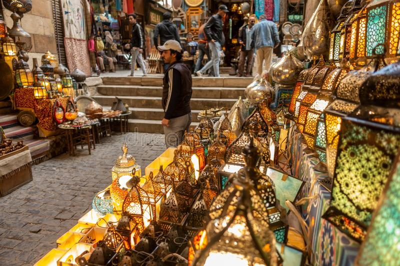 Lamp or Lantern Shop in the Khan El Khalili market in Islamic Cairo stock images