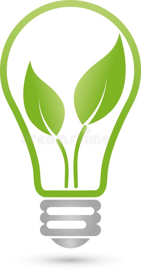 Lamp and leaves, plant, electrician and green power logo vector illustration