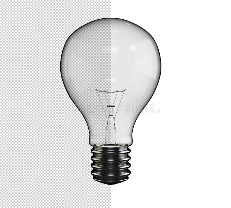 Lamp Light Bulb with Alpha Channel Transparent Background. Lamp rendered in 3d ready to be used in front of a background. Alpha channel was used to create the vector illustration