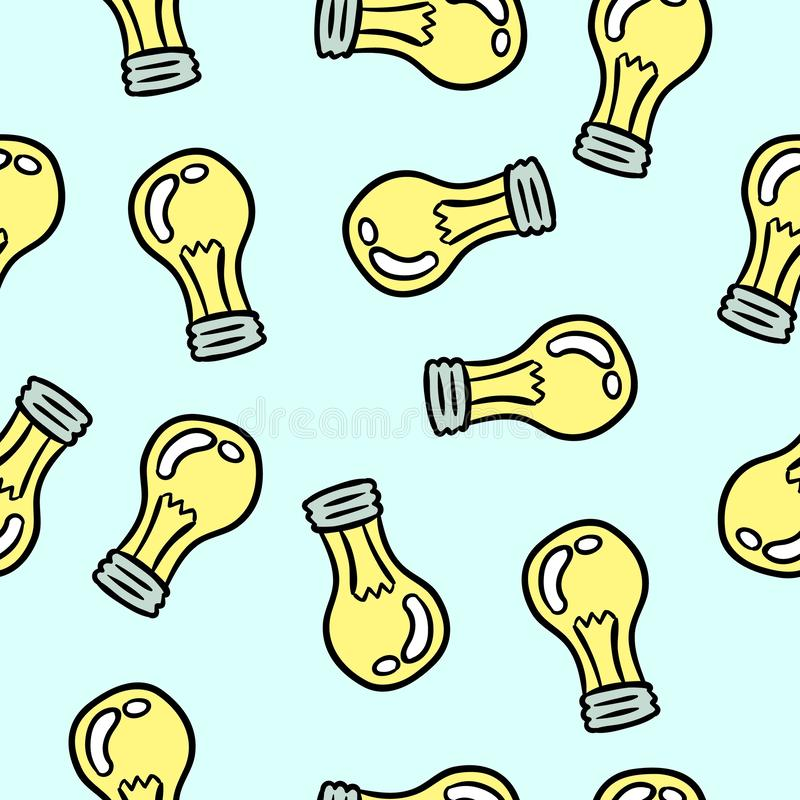 Lamp light bulb hand drawn seamless pattern design stock illustration