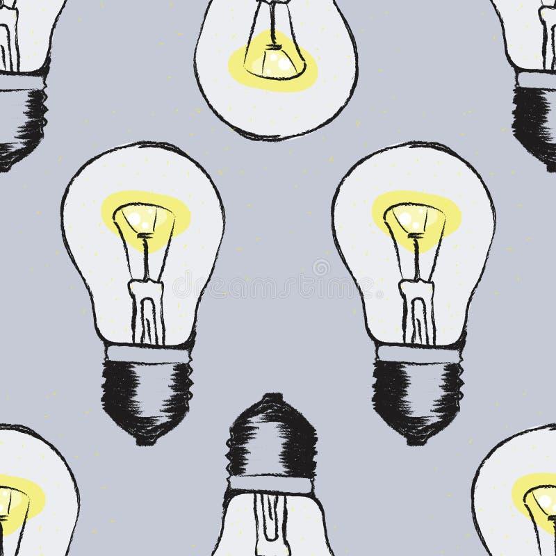 Lamp light bulb hand drawn seamless pattern design. royalty free illustration
