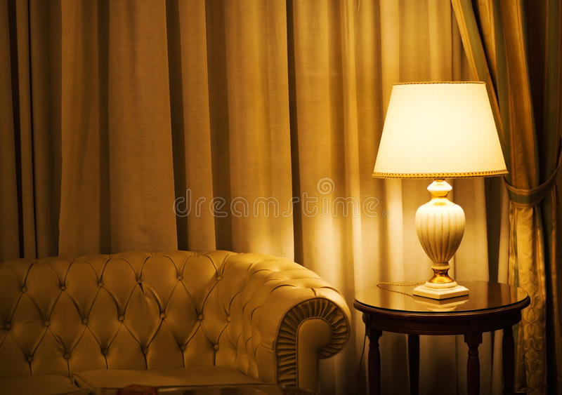 Lamp in a luxury hotel stock image