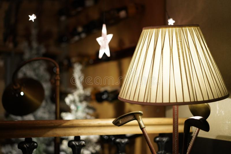 Lamp made of white fabric on fronte in a restaurant royalty free stock photography