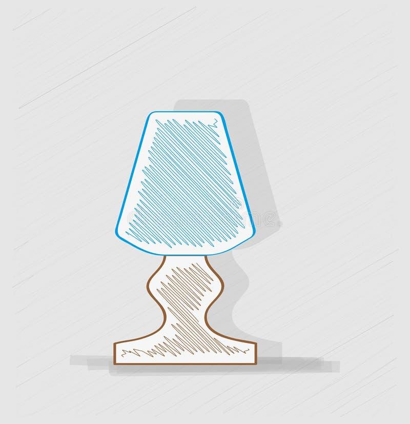 Lamp met blauwe lampekap stock illustratie