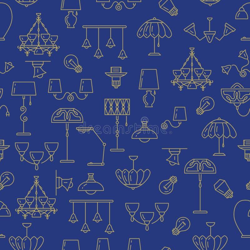 Lamp naadloos patroon, aanstekend pictogram De grafiek van de merkidentiteit, Binnenlandse achtergrond vector illustratie