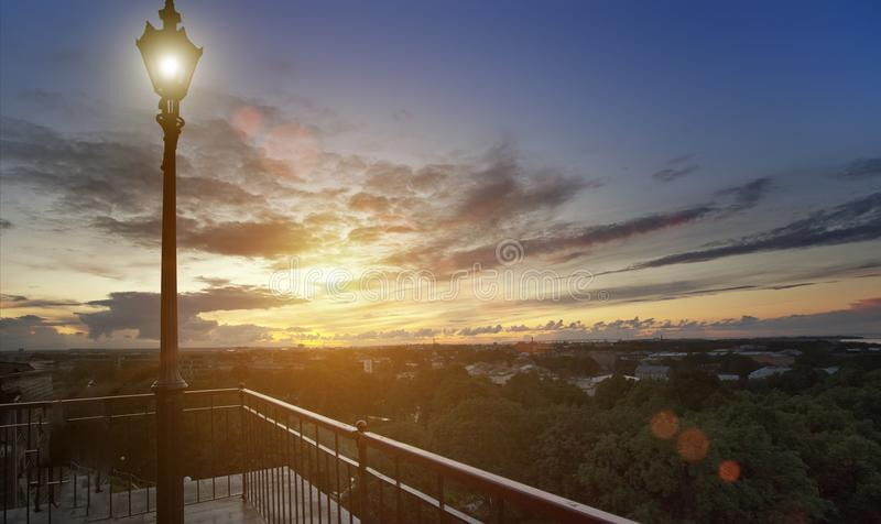 Lamp on an observation deck over the Old city. Tallinn, Estonia royalty free stock images