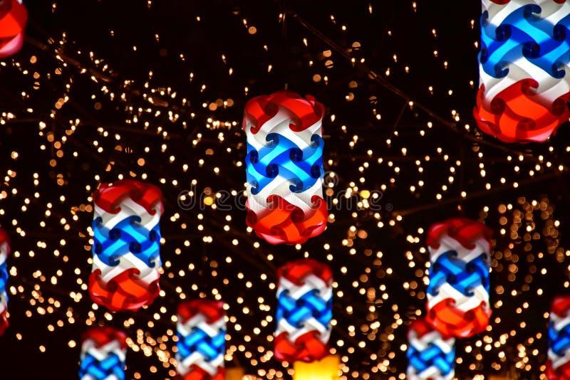 Lamp op nightscape stock foto's