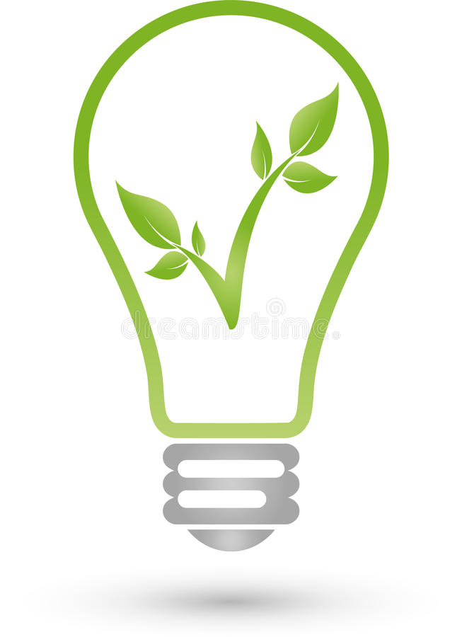 Lamp and plant, electrician and eco energy logo vector illustration