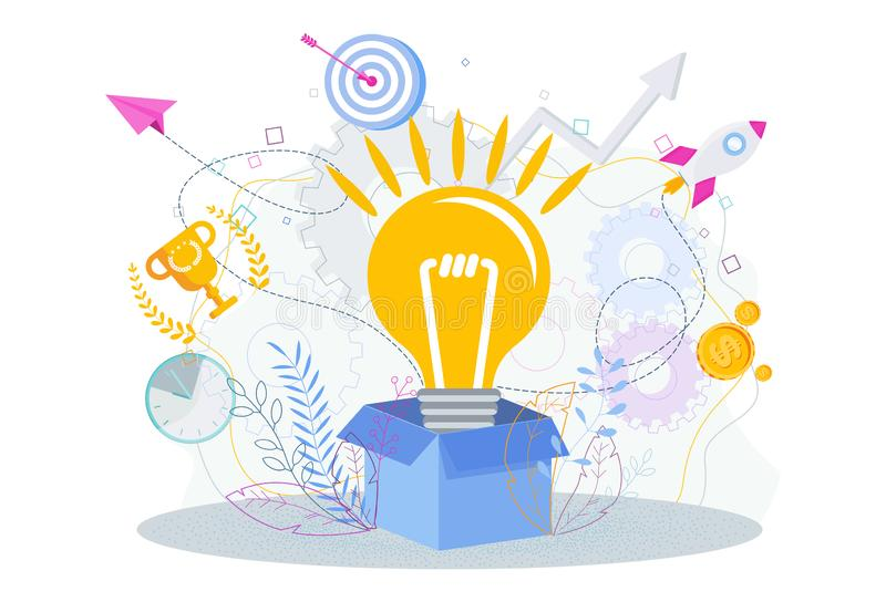 Lamp pops out of the cardboard box. Think outside the box. Lamp pops out of the cardboard box. Think outside the box creative idea. Idea to achieve the goal stock illustration
